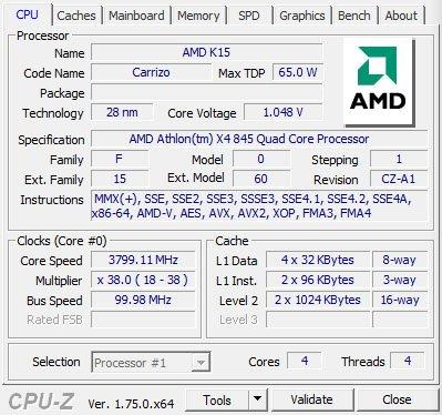 AMD Processeur X4 84595W Silent Cooler AD845XACKASBX Prix pas cher Source · amd x4 845 cpuz